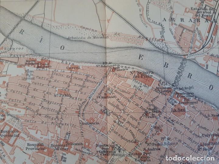 Mapas contemporáneos: Detallado Mapa Plano Original antiguo 1908 de Zaragoza Rio Ebro Aragón - Foto 3 - 211874943
