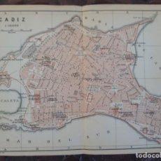 Mapas contemporáneos: DETALLADO MAPA PLANO ORIGINAL ANTIGUO 1908 DE CÁDIZ. Lote 211881035
