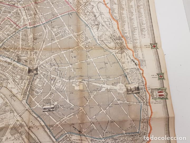 Mapas contemporáneos: MAPA DE PARÍS 1855, PAPEL SOBRE TELA - Foto 10 - 211890370
