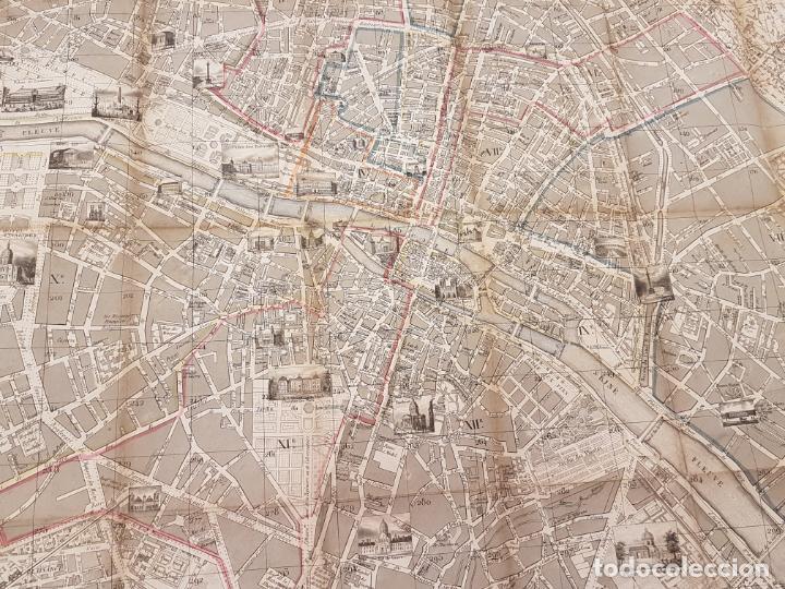 Mapas contemporáneos: MAPA DE PARÍS 1855, PAPEL SOBRE TELA - Foto 11 - 211890370