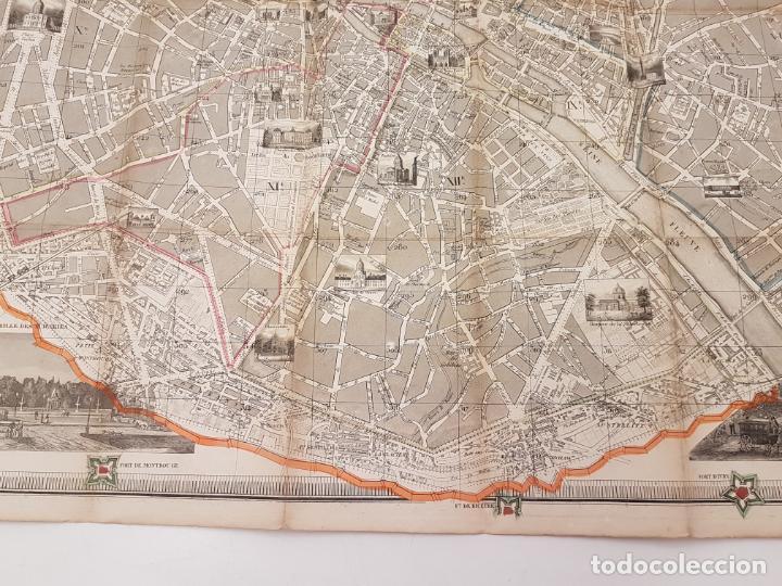 Mapas contemporáneos: MAPA DE PARÍS 1855, PAPEL SOBRE TELA - Foto 14 - 211890370