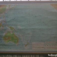 Mapas contemporáneos: ANTIGUO MAPA OCEANIA DE ESCUELA ENTELADO MAPAS MURALES AGUILAR.AÑO; 1965.. Lote 212296876