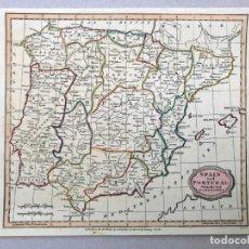 Mapas contemporáneos: MAPA ANTIGUO SIGLO XIX PENINSULA ESPAÑA PORTUGAL 1812 BARLOW BRIGHTLY KENNENSTY BUNGAY. Lote 212614622