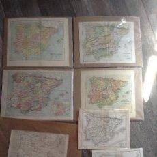 Mapas contemporáneos: LOTE DE 7 MAPAS DE ESPAÑA FINALES SIGLO XIX. Lote 213863568