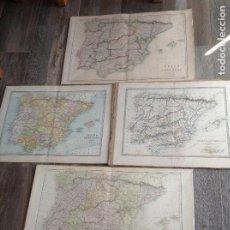 Mapas contemporáneos: LOTE DE 4 MAPAS DE ESPAÑA DE FINALES DEL SIGLO XIX. Lote 213865241