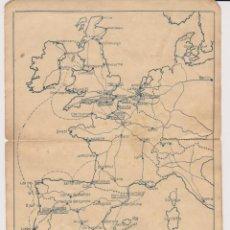 Mapas contemporáneos: ANTIGUA HOJA CON MAPA DE LAS PRINCIPALES COMUNICACIONES ENTRE ESPAÑA E INGLATERRA. Lote 218522431