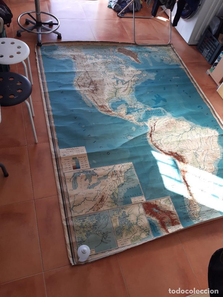 MAPA ANTIGUO AMÉRICA GIGANTE ENTELADO 220X170 (Coleccionismo - Mapas - Mapas actuales (desde siglo XIX))