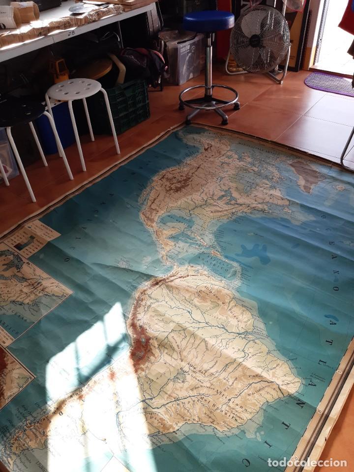 Mapas contemporáneos: Mapa antiguo América gigante entelado 220x170 - Foto 3 - 218582872