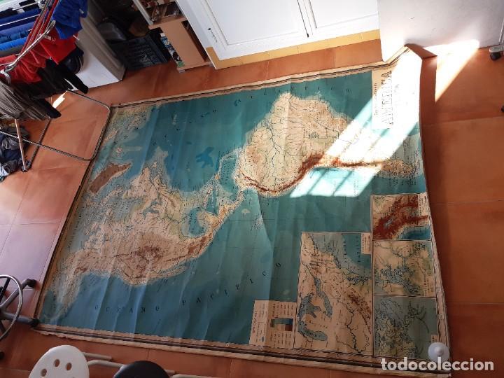 Mapas contemporáneos: Mapa antiguo América gigante entelado 220x170 - Foto 6 - 218582872