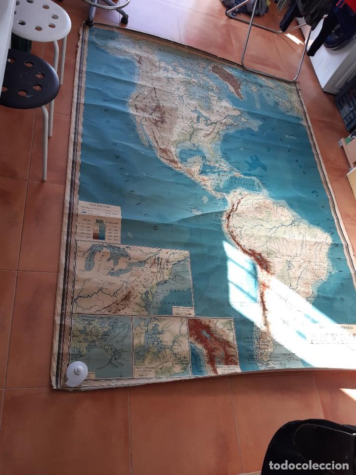 Mapas contemporáneos: Mapa antiguo América gigante entelado 220x170 - Foto 7 - 218582872