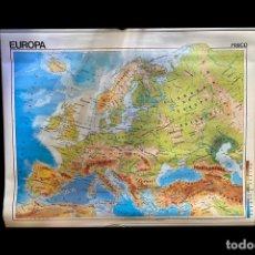 Mapas contemporáneos: MAPA POLÍTICO Y FÍSICO DE EUROPA, 1988, IMPECABLE.. Lote 219027222