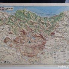 Mappe contemporanee: MAPA DEL PAÍS VASCO EN RELIEVE (3 DIMENSIONES) DE EL PAIS. Lote 219186445