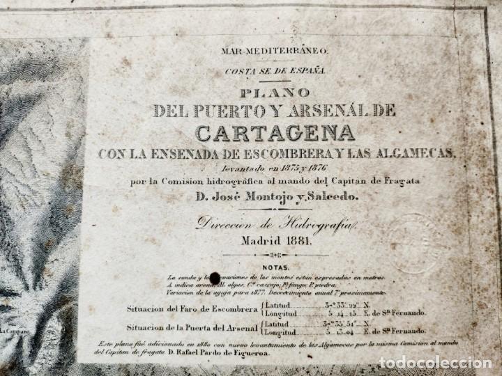 Mapas contemporáneos: PLANO DEL PUERTO DE CARTAGENA CON LA ESCOMBRERA Y ALGAMECA- 1873-1876 - 1000-003-B - Foto 6 - 45836976