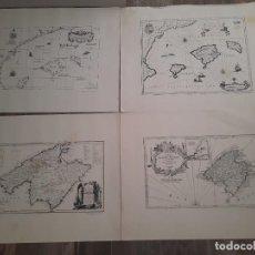 Mapas contemporáneos: LOTE 4 MAPAS REPRODUCCIÓN BALEARES MALLORCA IBIZA MENORCA EDITORIAL RIPOLL 70 X 54 1981. Lote 220838027