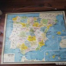 Mapas contemporáneos: MAPA ANTIGUO DE ESPAÑA POLÍTICO - ESCOLAR DE PAPEL SOBRE TELA Y BARRAS MADERA SEIX BARRAL- BARCELONA. Lote 220855977