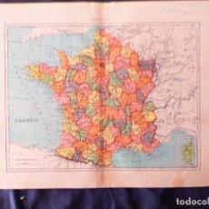 Mapas contemporáneos: MAPA DE FRANCIA POR DEPARTAMENTOS. Lote 222231847