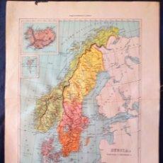 Mapas contemporáneos: MAPA DE SUECIA NORUEGA Y DINARMARCA XIX. Lote 222239300