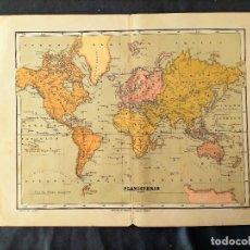 Mapas contemporáneos: PLANISFERIO LIBRERIA DE HERNANDO REINOSO GRABO LIT VDA DE ROLDAN XIX. Lote 222239447