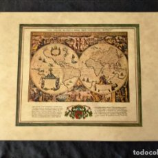 Mapas contemporáneos: FASCIMIL MAPA ORBIS TERRAUM DESCRIPTIO DUOBIS PLANIS HEMISPHARIIS COMPREHESA. Lote 222246935