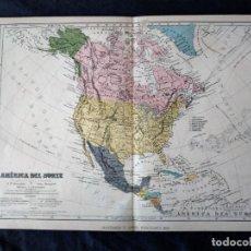Mapas contemporáneos: MAPA DE AMERICA DEL NOERTE MONTANER Y SIMON BARCELONA 1876. Lote 222248700