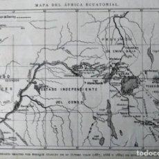 Mapas contemporáneos: MAPA DE AFRICA ECUATORIAL ITINERARIO ENRIQUE STANLEY EN BUSCA DE EMIN BAJA. Lote 222255896
