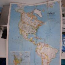 Mapas contemporáneos: EXCEPCIONAL PÓSTER MAPA DE LAS AMERICAS. MIGRACIÓN DE AVES.. Lote 222272387