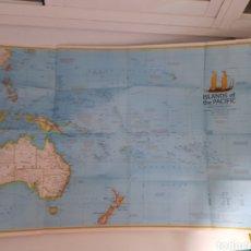 Mapas contemporáneos: EXCEPCIONAL PÓSTER MAPA DE LAS ISLAS DEL PACIFICO Y SUS DESCUBRIDORES.. Lote 222273345