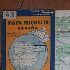 Mapas contemporáneos: MAPA MICHELIN ZARAGOZA-BARCELONA AÑOS 40. Lote 222282640