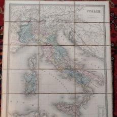 Mapas contemporáneos: ANTIGUO MAPA DE ITALIA ENTELADO AÑO 1900.. Lote 223493167