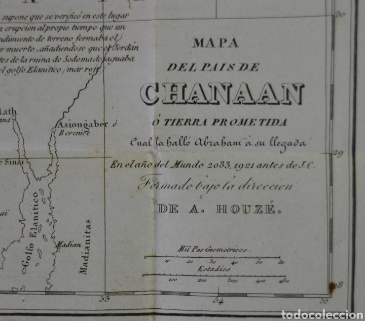 Mapas contemporáneos: MAPA DEL PAIS DE CHANAAN. TIERRA PROMETIDA (ISRAEL) DE A. HOUZE. TRADUCIDO AL ESPAÑOL. 1840. BIBLIA. - Foto 2 - 227226605