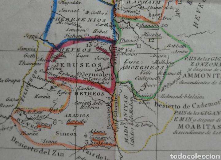 Mapas contemporáneos: MAPA DEL PAIS DE CHANAAN. TIERRA PROMETIDA (ISRAEL) DE A. HOUZE. TRADUCIDO AL ESPAÑOL. 1840. BIBLIA. - Foto 3 - 227226605