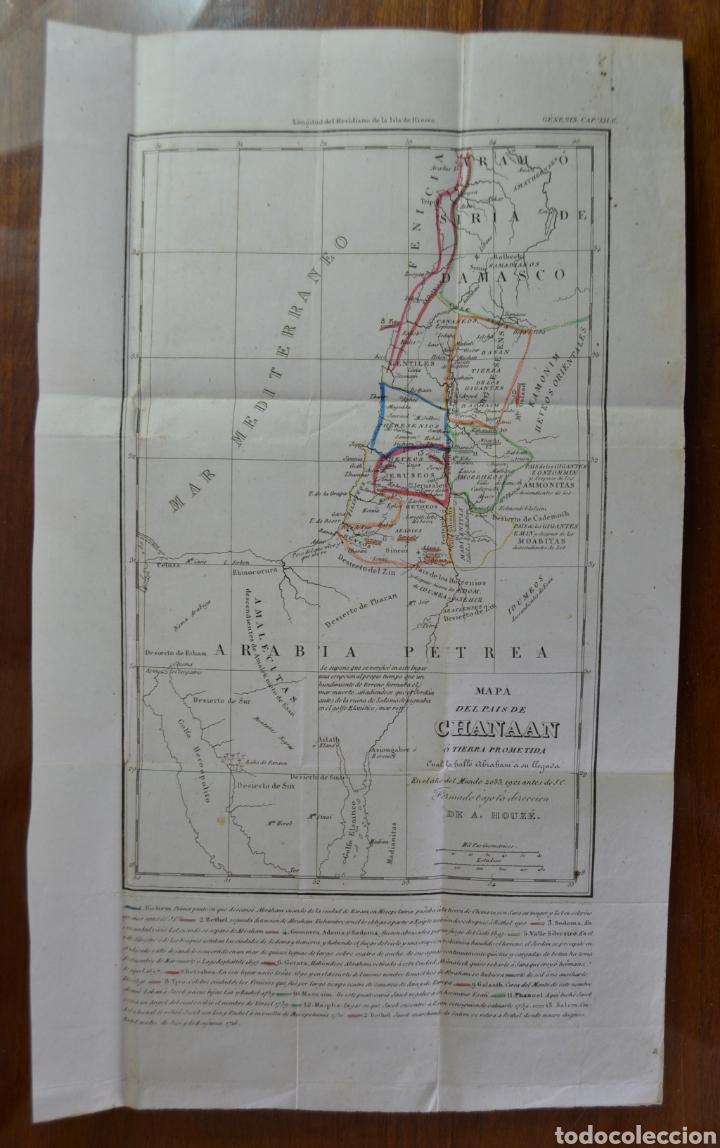 MAPA DEL PAIS DE CHANAAN. TIERRA PROMETIDA (ISRAEL) DE A. HOUZE. TRADUCIDO AL ESPAÑOL. 1840. BIBLIA. (Coleccionismo - Mapas - Mapas actuales (desde siglo XIX))