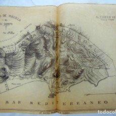 Mapas contemporáneos: ANTIGUA LITOGRAFÍA - OLD LITOGRAPHY : PLANO DE MELILLA Y SU CAMPO. LIT MATEU. Lote 227465060