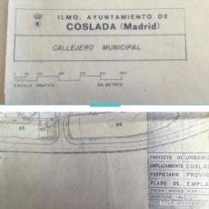 Mapas contemporáneos: COSLADA 1987. CALLEJERO Y PLANOS AYUNTAMIENTO DE COSLADA Y PROYECTO URBANIZACIÓN.. Lote 228434960