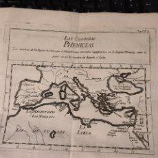 Cartes géographiques contemporaines: ANTIGUO GRABADO DE LAS COLONIAS FENICIOS,.XVIII. 18X15 CM .. Lote 228804425