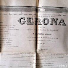 Mapas contemporáneos: CARTOGRAFIA ANTIGUA,GRAN PLANO-MAPA SIGLO XIX,AÑO 1851 PROVINCIA GERONA,INGENIERO MILITAR. Lote 229023105
