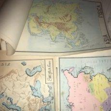 Mapas contemporáneos: LOTE DE 17 MAPAS DIBUJADOS COLOREADOS A MANO FIRMADOS MUNDI AÑOS 40 50 ILUSTRACIONES A3 RARO RAREZA. Lote 229768680