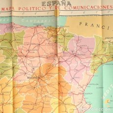 Mapas contemporáneos: MAPA ESPAÑA POLITICO Y TELECOMUNICACIONES-AÑOS 50-TALLERES INSTITUTO GEOGRÁFICO CATASTRAL-109 X 79'5. Lote 230045815