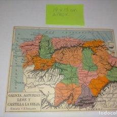 Mapas contemporáneos: GEOGRAFIA - GRABADO AÑO 1929 ANTIGUO - MAPA 19X15 CM APRO. GALICIA ASTURIAS LEON Y CASTILLA LA VIEJA. Lote 230911305