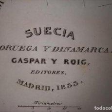 Mapas contemporáneos: MARAVILLOSO MAPA SUECIA, NORUEGA Y DINAMARCA GRABADO AL ACERO, DUFOUR, ORIGINAL, MADRID,1852.. Lote 237542420