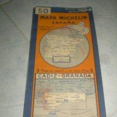 Mapas contemporáneos: ANTIGUO MAPA MICHELIN ESPAÑA Nº 50 CÁDIZ-GRANADA. DESPLEGABLE. VER FOTOS LEER DESCRIP. CARRETERAS. Lote 241725605