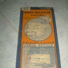 Mapas contemporáneos: ANTIGUO MAPA MICHELIN ESPAÑA Nº 48 LISBOA-SEVILLA. DESPLEGABLE. VER FOTOS LEER DESCRIP. CARRETERAS. Lote 241726050