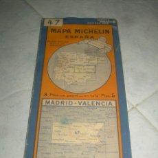 Mapas contemporáneos: ANTIGUO MAPA MICHELIN ESPAÑA Nº 47 MADRID-VALENCIA. DESPLEGABLE. VER FOTOS LEER DESCRIP. CARRETERAS. Lote 241726245