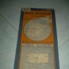 Mapas contemporáneos: ANTIGUO MAPA MICHELIN ESPAÑA Nº 46 LISBOA-TALAVERA. DESPLEGABLE. VER FOTOS LEER DESCRIP. CARRETERAS. Lote 241726470