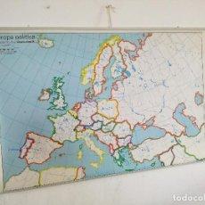 Cartes géographiques contemporaines: MAPA DE ESCUELA DE GRAN FORMATO A DOS CARAS, EUROPA FÍSICA - POLÍTICA, 130 X 85 CMS.. Lote 241754975