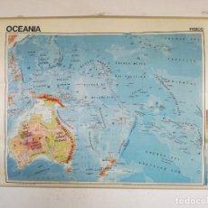 Cartes géographiques contemporaines: MAPA DE ESCUELA DE GRAN FORMATO A DOS CARAS, OCEANÍA FÍSICO Y POLÍTICO, 110 X 90 CMS.. Lote 241757580