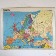 Cartes géographiques contemporaines: MAPA DE ESCUELA DE GRAN FORMATO A DOS CARAS, EUROPA FÍSICO Y POLÍTICO, 110 X 90 CMS.. Lote 241758045