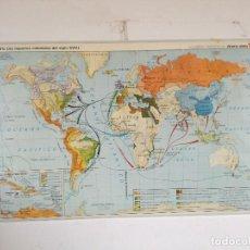 Cartes géographiques contemporaines: MAPA DE ESCUELA DE GRAN FORMATO A DOS CARAS, IMPERIOS COLONIALES Y EUROPA S. XVIII, 130 X 85 CMS.. Lote 241759040