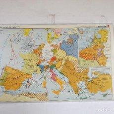 Cartes géographiques contemporaines: MAPA DE ESCUELA DE GRAN FORMATO A DOS CARAS, EUROPA S. XVI Y RUTAS OCEÁNICAS, 130 X 85 CMS.. Lote 241759450
