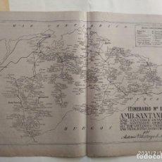 Cartes géographiques contemporaines: MAPA CORREOS - ITINERARIO N. 11 - SANTANDER, ONTANEDA, LIERGANES, TRANSLAVIÑA, CASTRO URDIALES , VER. Lote 241951710
